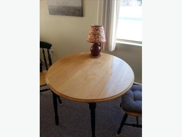 Maple round Dining room Table plus two Chairs