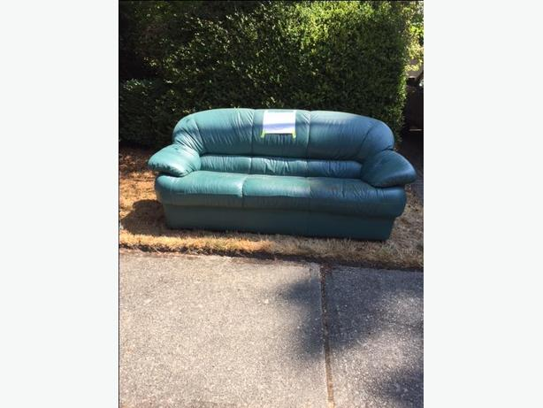 FREE: Green Leather Couch