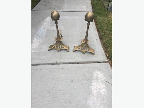 Vintage Fireplace Brass Andirons