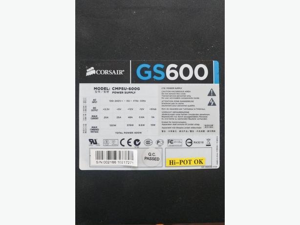 CORSAIR GS600 ATX 600 WATT DESKTOP POWER SUPPLY