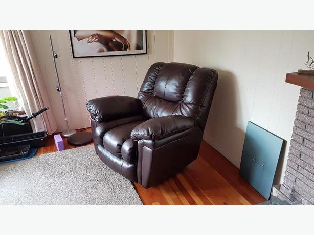 Coffee Leather Reclining Rocking chair