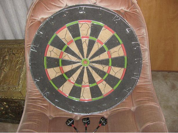 Regulation Dart Board & Darts - In Excellent Condition