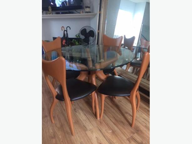 Beautiful unusual mid-century dining table & Chairs