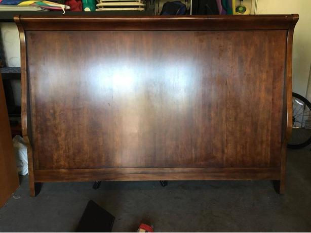 King-Sized Walnut Headboard, Footboard and Frame