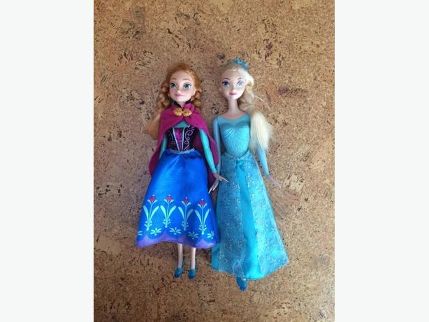 Anna and Elsa Barbie dolls