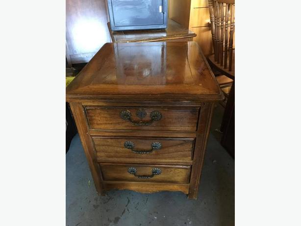 Antique Walnut Bedside Tables x2
