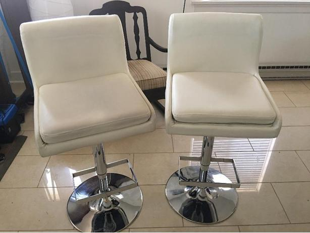 pair of matching white leather/ chrome adjustable bar stools