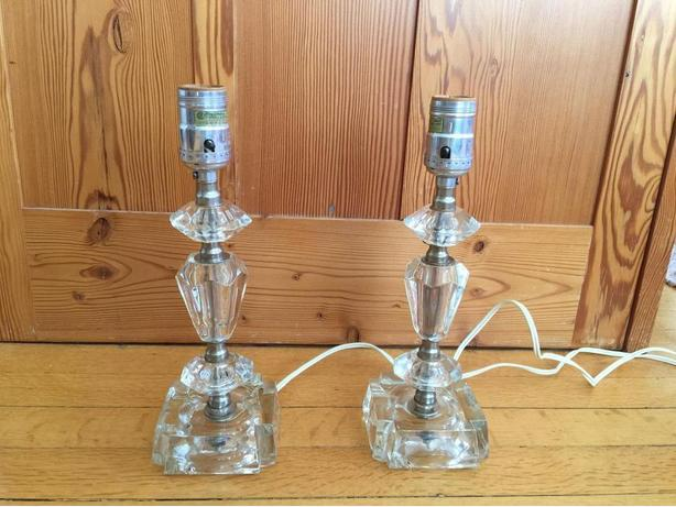 Pair of Cut-Glass Table Lamps (no shades)