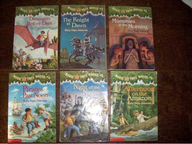 Magic tree house #1-6  and 4 research guide info book