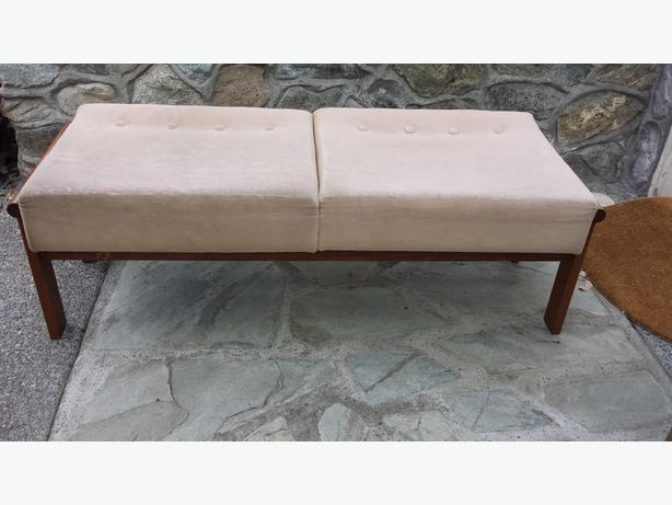 Upholstered Teak Bench