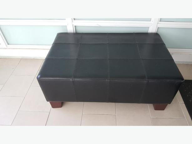 Large Black Leather Ottoman/Bench/Coffee Table