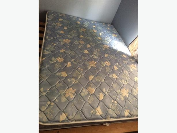 Double Bed Mattress and Wooden Bed Frame