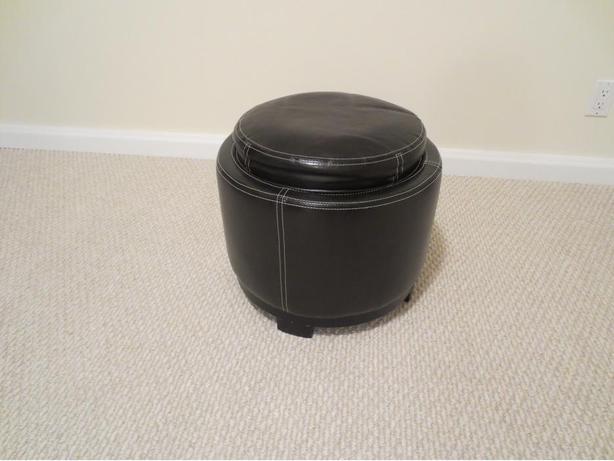 Black Leatherette Stool with Storage