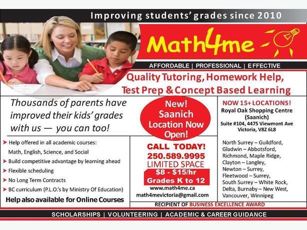 $8-$15/hr Quality tutoring for Gr 1-12 (Saanich - Victoria)