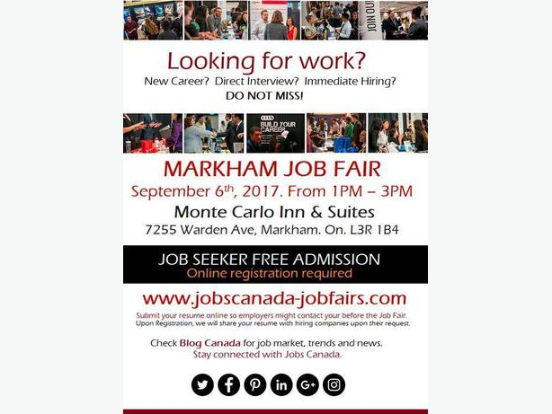 FREE: Markham Job Fair – Wednesday, September 6th, 2017