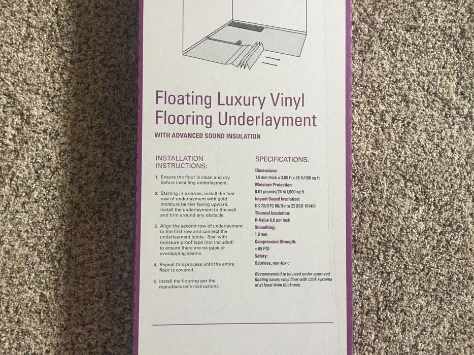 $20 · Vinyl Flooring Underlayment