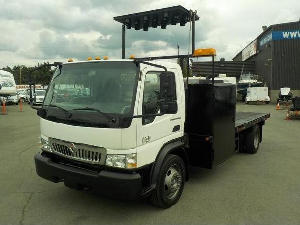 2008 International CF 600 VT275 Diesel Dually 10 Foot Flat Deck w/ Signal Board