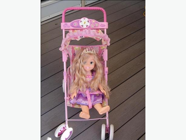 doll stroller walk&talk , swiveling wheels,carriage bag,