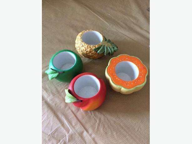 set of 4 fruit tealight holders