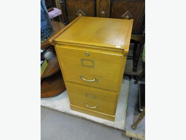 TWO DRAWER OAK FILING CABINET FROM ESTATE
