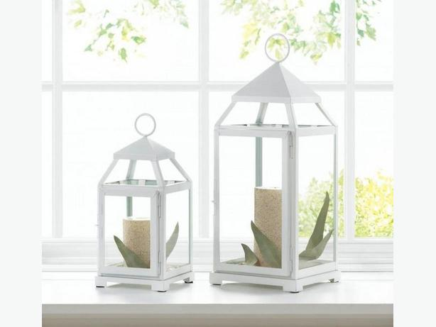 White Contemporary Candle Lantern Large & Small 2PC Mixed Lot