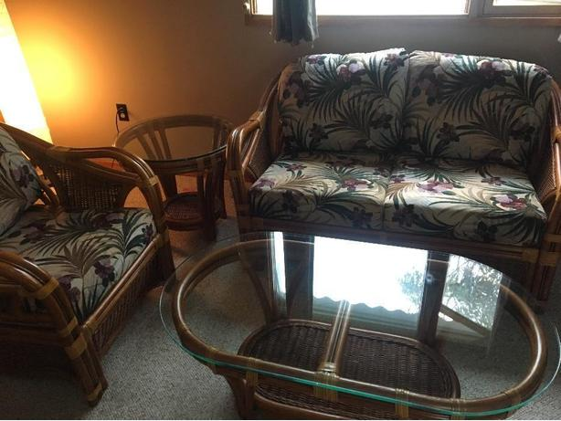 couches / wicker and glass living room set