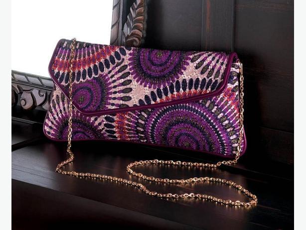 Breezy Couture Fashion Accessories Clutch Purse Necklace ER Purple Mix +