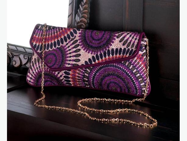 Breezy Couture Fashion Accessories Clutch Purse Necklace ER Purple Mix +