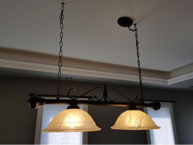 Large ceiling light, black with white shade