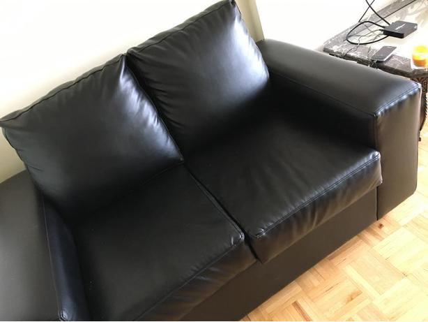 Black Leather Loveseat Couch for Sale