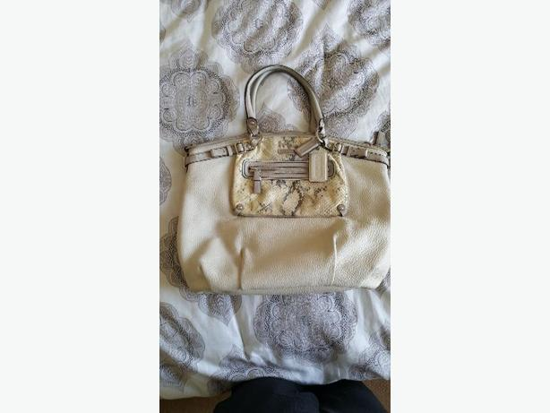 COACH Classic Purse Handbag Off White Leather/Snakeskin Maggie