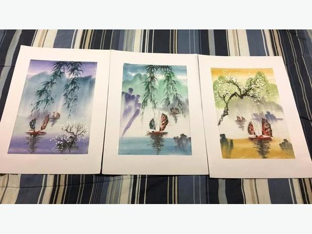3 beautiful pictures done on thread