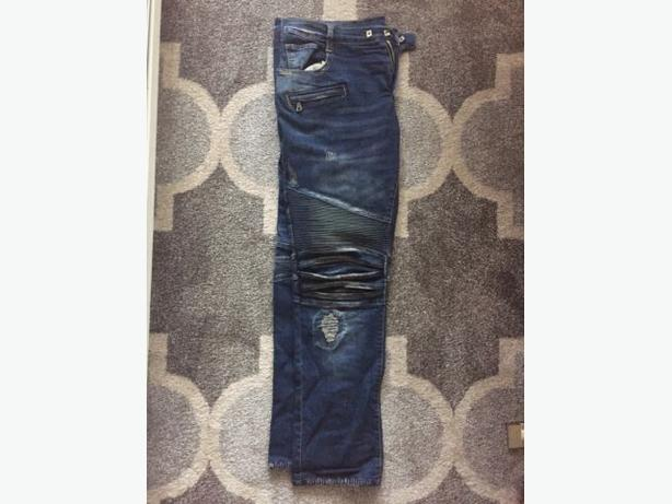Brand new pair of Authentic Balmain Biker Moto Jeans - Size 36