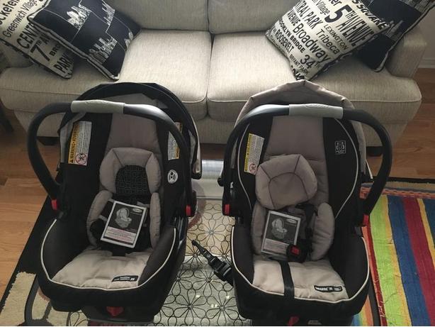 Two Graco SnugRide Click Connect 35 Infant Car Seats