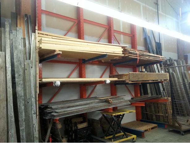 "Cantilever racking,  16' posts, 48"" arms"