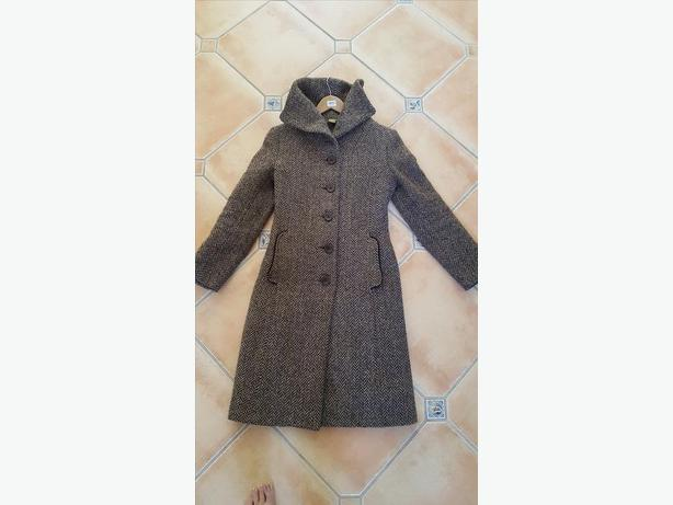 Ladies' brown herringbone wool coat (size S)