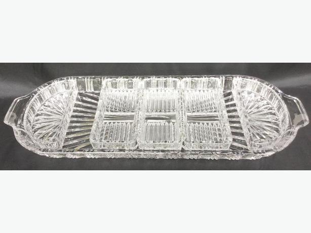 Very Large Heavy Cut Glass TRAY with --FIRM