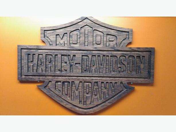 Large oak Harley Davidson sign