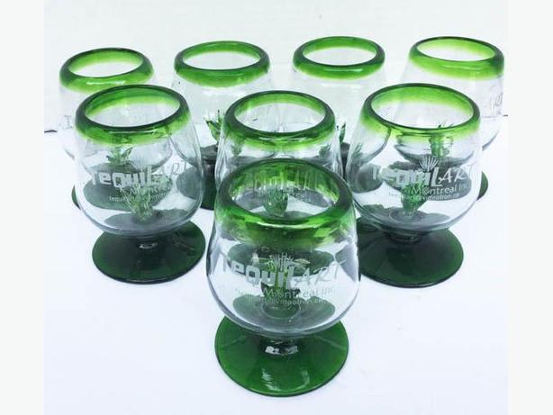 8 Tequila Galsses Mexican bubble Pedestal