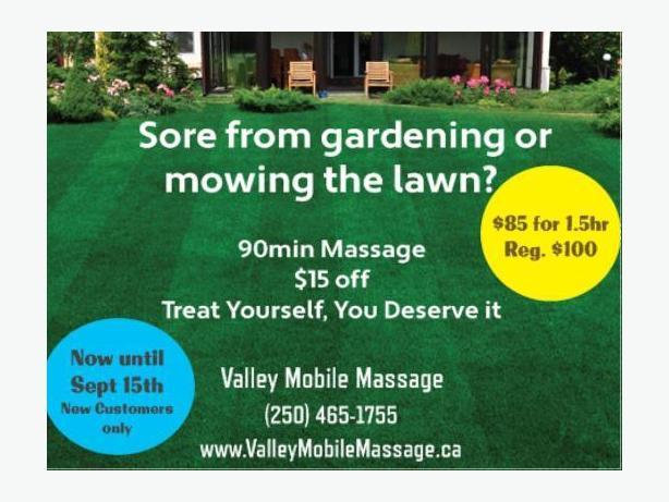 $15 off 90min massage ValleyMobileMassage.ca