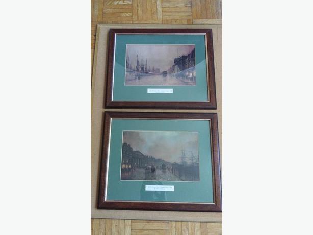 Victorian Art Prints by John Atkinson Grimshaw in vintage frames