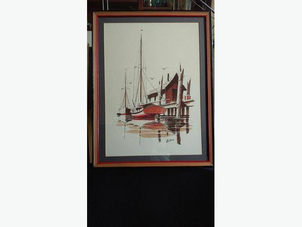 Original by Walter Loden New Orleans sailboat by old wharf