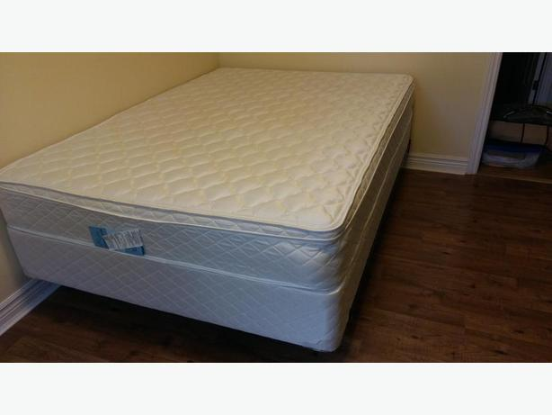 Double mattress & box spring with metal bed frame