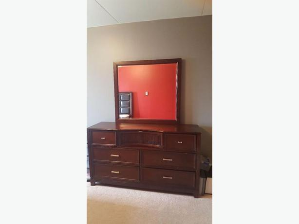 wooden dresser and mirror