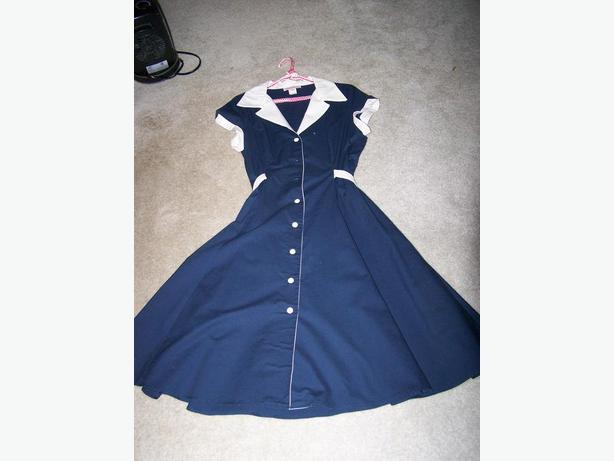 Navy Blue & White Dress