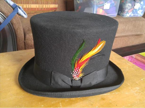 New Black Top Hat With Feather