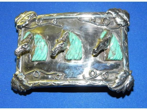 Vintage 925 Sterling Silver Western or Equestrian Belt Buckle