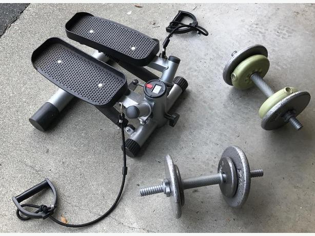 step exerciser and weights