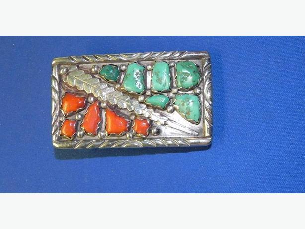 Silver Turquoise/Coral Belt Buckle