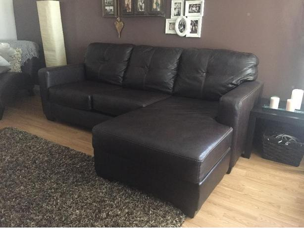 Ashleys Brown Leather Sectional